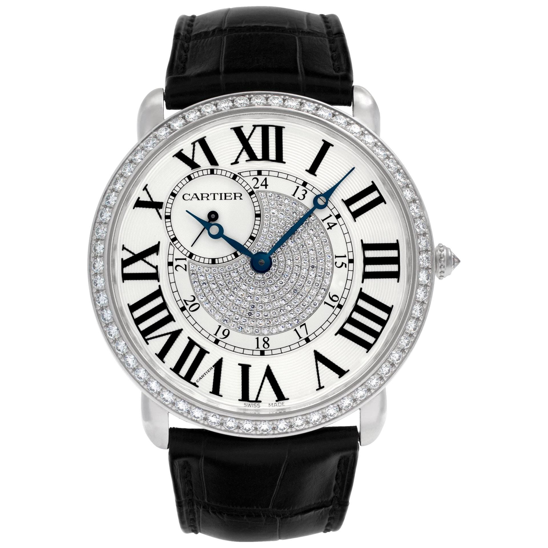 Cartier Ronde Louis WR007004 18k White Gold Factory Diamond Bezel & Pave Dial
