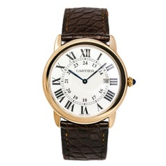 Cartier Ronde Solo 3602 W6700355 Rose Gold Unisex Quartz Watch Leather Band 36Mm