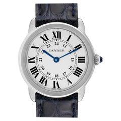 Cartier Ronde Solo Black Strap Steel Ladies Watch W6700155