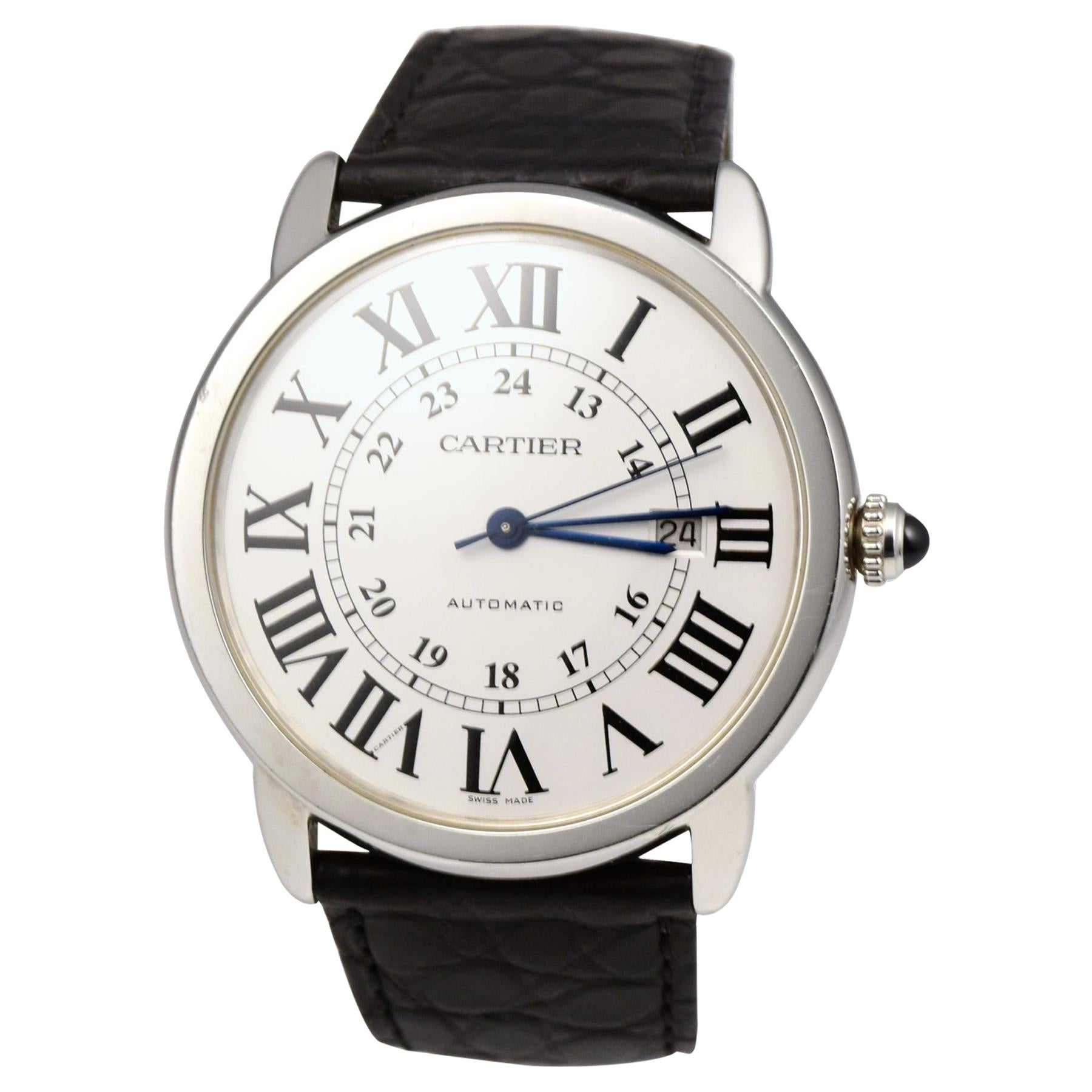 Cartier Ronde Solo in Stainless Steel Black Leather Strap Watch