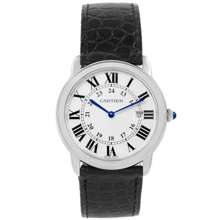 Cartier Ronde Solo Large Steel Silver Dial Unisex Watch W6700255 For Sale 3