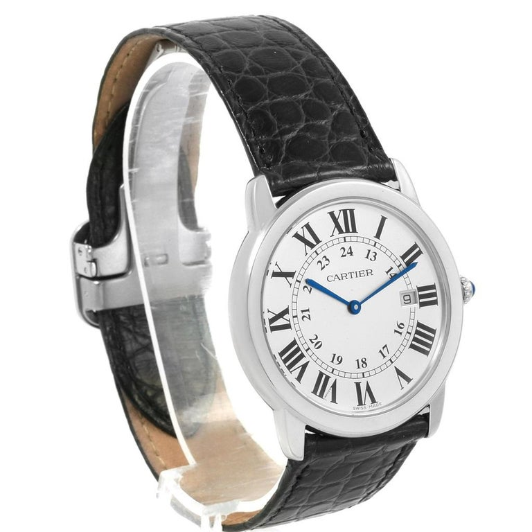 Cartier Ronde Solo Large Steel Silver Dial Unisex Watch W6700255 For Sale 4