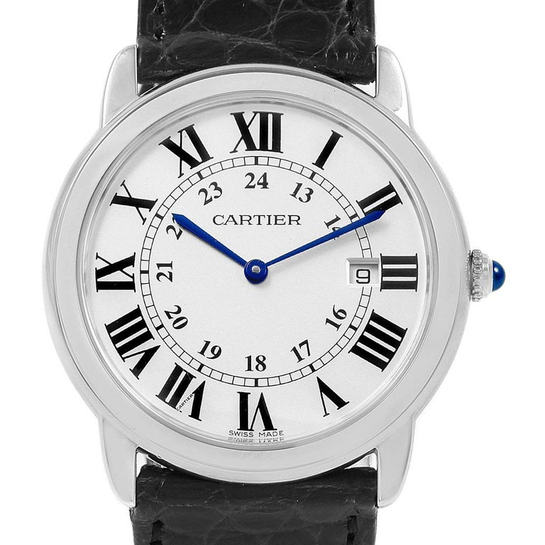 Cartier Ronde Solo Large Steel Silver Dial Unisex Watch W6700255 For Sale