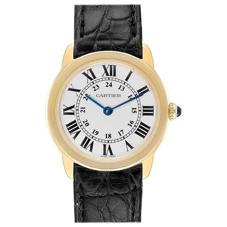 Cartier Ronde Solo Steel 18 Karat Yellow Gold Small Ladies Watch W6700355 For Sale