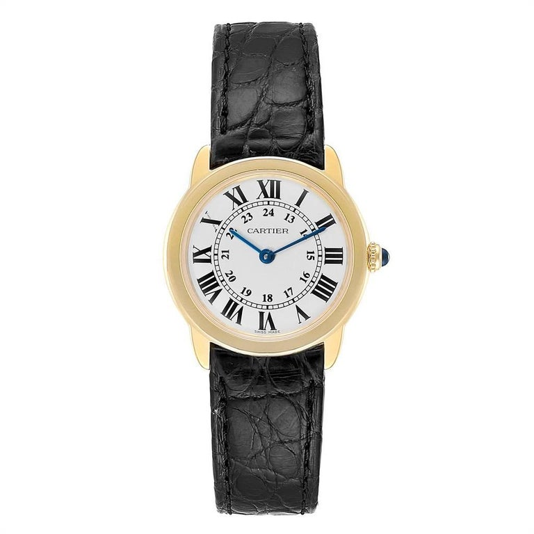 Cartier Ronde Solo Steel 18K Yellow Gold Small Ladies Watch W6700355. Quartz movement. 18K yellow gold case 29.0 mm in diameter. Stainless steel case back. Case thikness 6.35 mm. Circular grained crown set with the blue spinel cabochon. Scratch