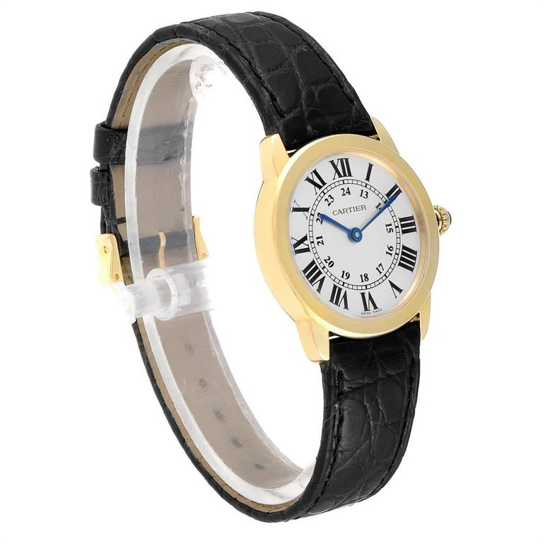 Cartier Ronde Solo Steel 18 Karat Yellow Gold Small Ladies Watch W6700355 In Excellent Condition For Sale In Atlanta, GA