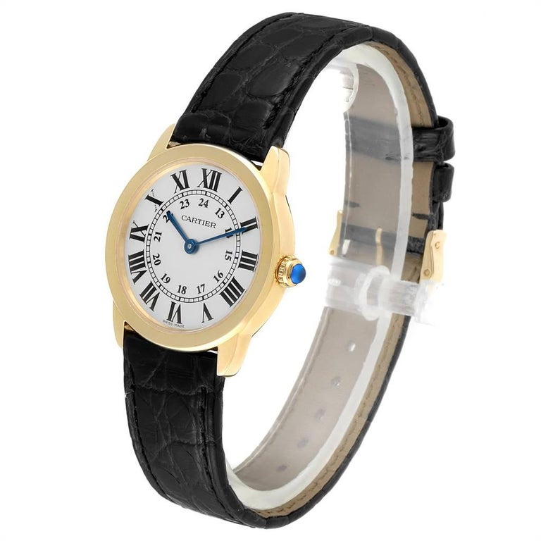 Women's Cartier Ronde Solo Steel 18 Karat Yellow Gold Small Ladies Watch W6700355 For Sale