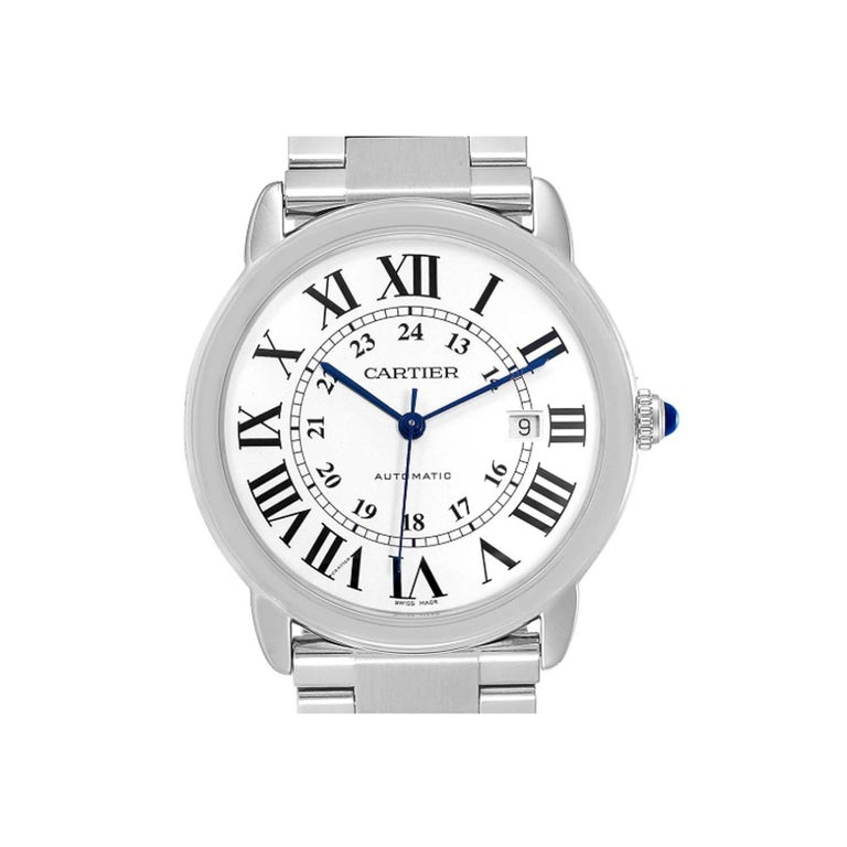 This  never been worn  Cartier Ronde Solo W6701011 is a beautiful men's timepiece that is powered by mechanical (automatic) movement which is cased in a stainless steel case. It has a round shape face, date indicator dial and has hand arabic