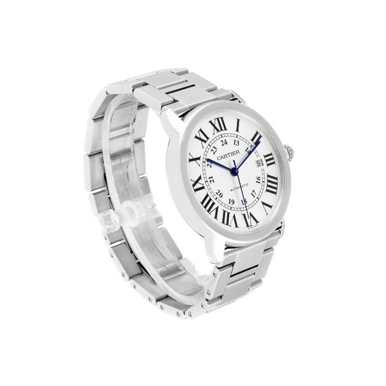 Cartier Ronde Solo W6701011 Stainless Steel Automatic Men's Watch In Excellent Condition For Sale In New York, NY