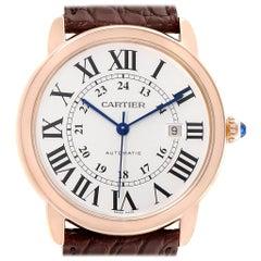 Cartier Ronde Solo XL Silver Dial Rose Gold Steel Men's Watch W6701009