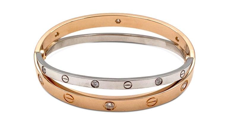 Women's Cartier Rose and White Gold Diamond Love Bracelet For Sale