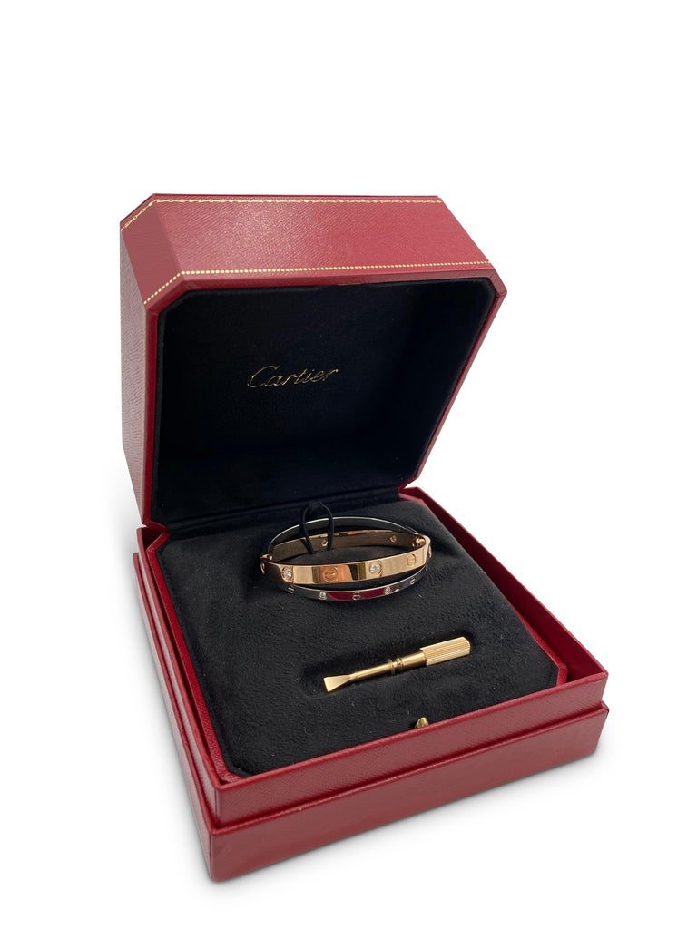 Cartier Rose and White Gold Diamond Love Bracelet For Sale 2