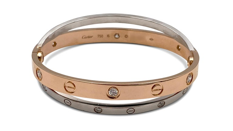 Round Cut Cartier Rose and White Gold Diamond Love Bracelet For Sale