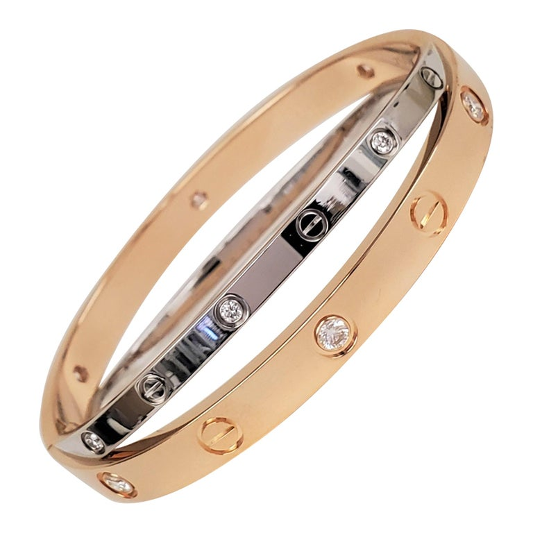 Cartier Rose and White Gold Diamond Love Bracelet For Sale