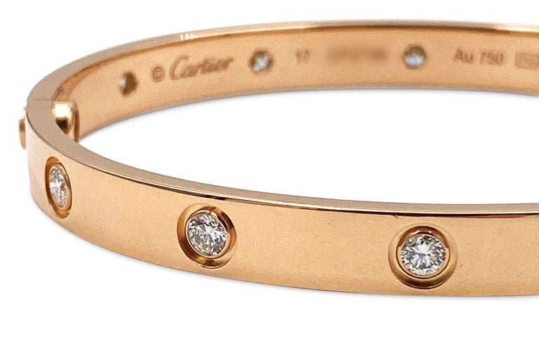 Round Cut Cartier Rose Gold 10 Diamond Love Bracelet