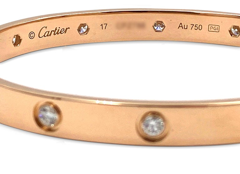 Cartier Rose Gold 10 Diamond Love Bracelet In Excellent Condition In New York, NY