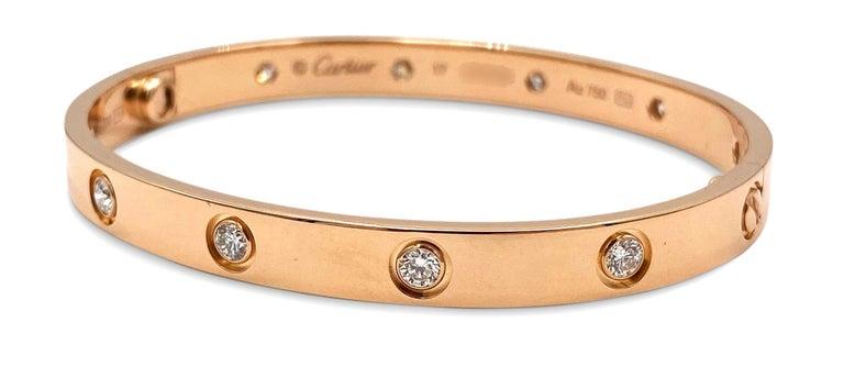 Women's or Men's Cartier Rose Gold 10 Diamond Love Bracelet