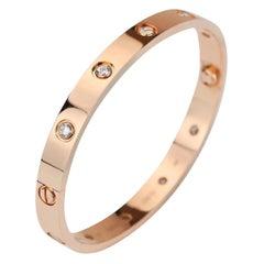 Cartier Rose Gold 10 Diamond Love Bracelet Size 17