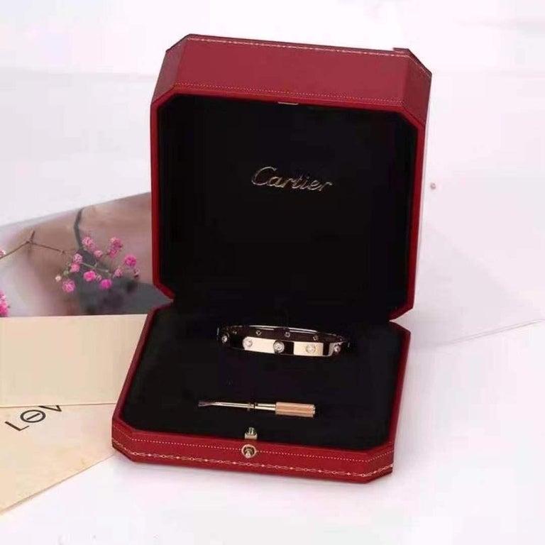 Brilliant Cut Cartier Rose Gold 10 Diamond Love Bracelet