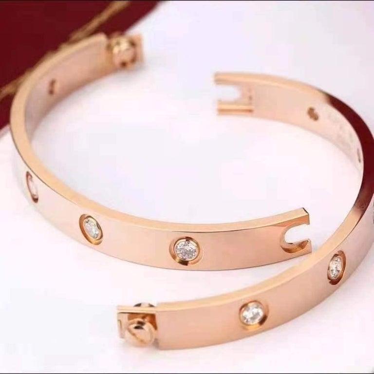 Cartier Rose Gold 10 Diamond Love Bracelet 3