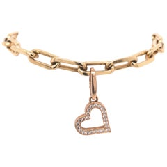 Cartier Rose Gold and Diamond Heart Charm on Yellow Gold Link Bracelet