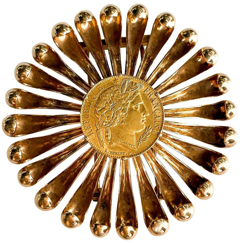 Cartier Rose Gold Coin 1950s Brooch