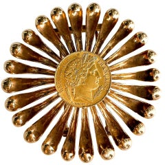 Cartier Rose Gold Coin 1950s Brooch