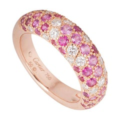 Cartier Rose Gold Diamond and Pink Sapphire Etincelle Ring