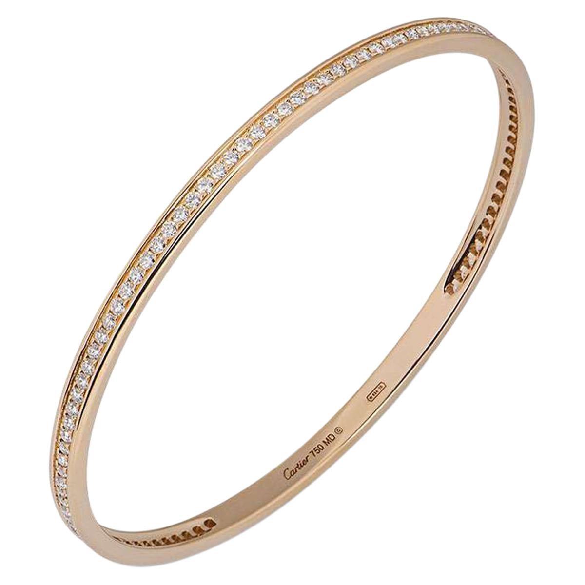 Cartier Rose Gold Diamond Bangle 2.28 Carat