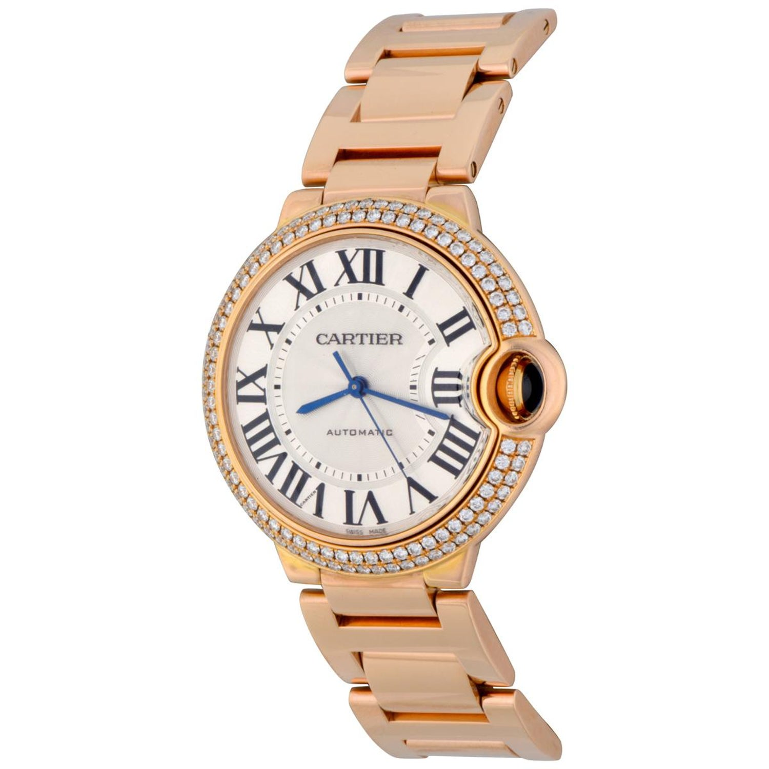 123fac1436c6 Cartier Rose Gold Diamond Bezel Ballon Bleu Automatic Wristwatch at 1stdibs