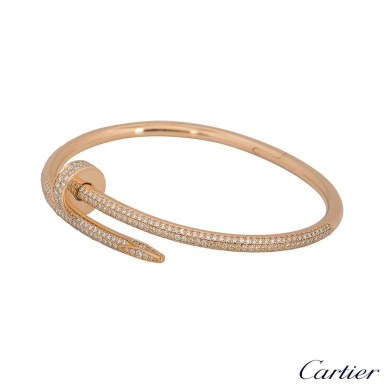 Women's or Men's Cartier Rose Gold Diamond Juste Un Clou Bracelet For Sale