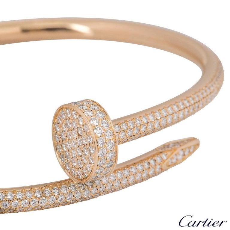 Cartier Rose Gold Diamond Juste Un Clou Bracelet For Sale 1