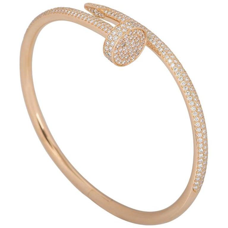 Cartier Rose Gold Diamond Juste Un Clou Bracelet For Sale