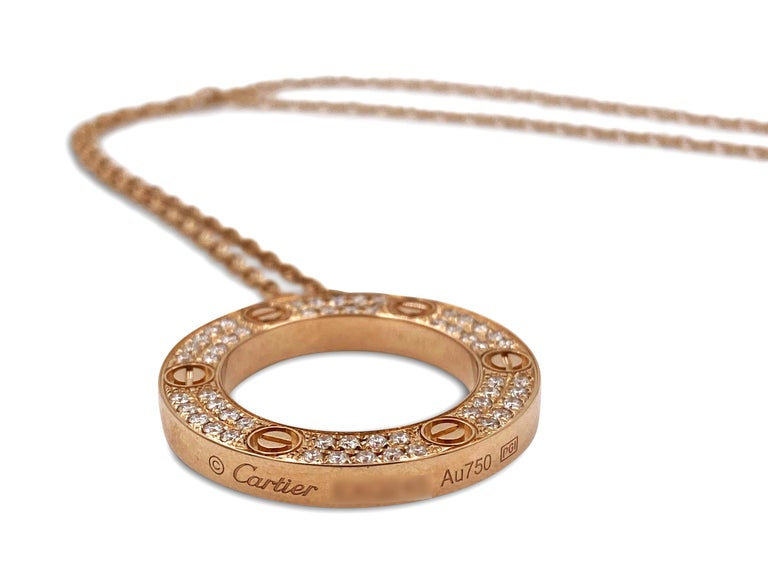 Cartier Rose Gold Diamond Love Circle Charm Necklace For Sale 1