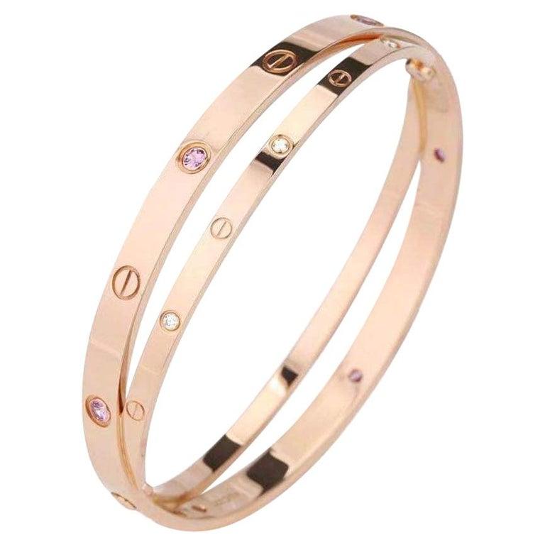 Cartier Rose Gold Diamond Pink Sapphire Love Bracelet N6705900 For Sale