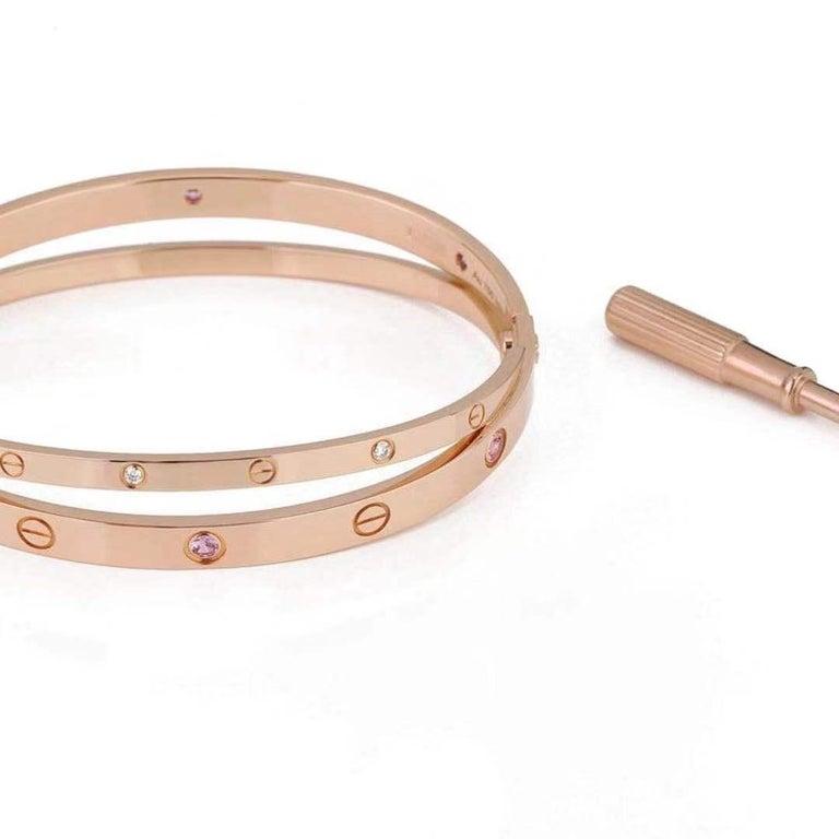 Cartier Rose Gold Diamond Pink Sapphire Love Bracelet N6705900 For Sale 4