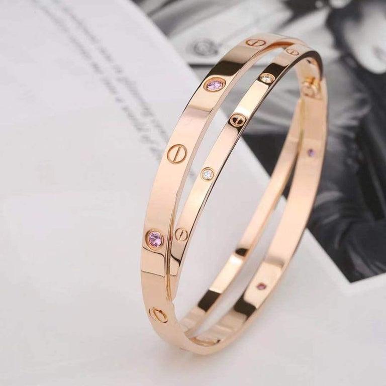 Brilliant Cut Cartier Rose Gold Diamond Pink Sapphire Love Bracelet N6705900 For Sale