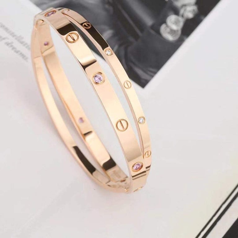 Cartier Rose Gold Diamond Pink Sapphire Love Bracelet N6705900 In Excellent Condition For Sale In Banbury, GB