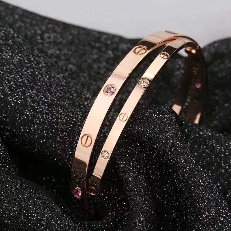 Women's or Men's Cartier Rose Gold Diamond Pink Sapphire Love Bracelet N6705900 For Sale