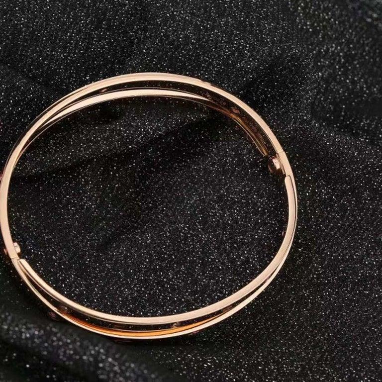 Cartier Rose Gold Diamond Pink Sapphire Love Bracelet N6705900 For Sale 2