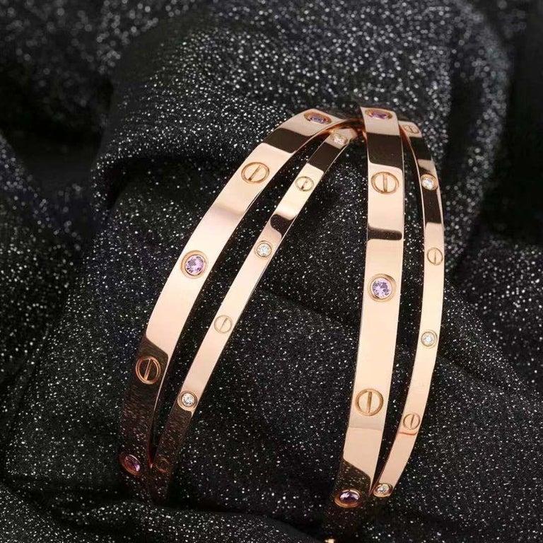 Cartier Rose Gold Diamond Pink Sapphire Love Bracelet N6705900 For Sale 3