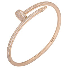 Cartier Rose Gold Full Pave Diamond Juste Un Clou Bracelet N6702117