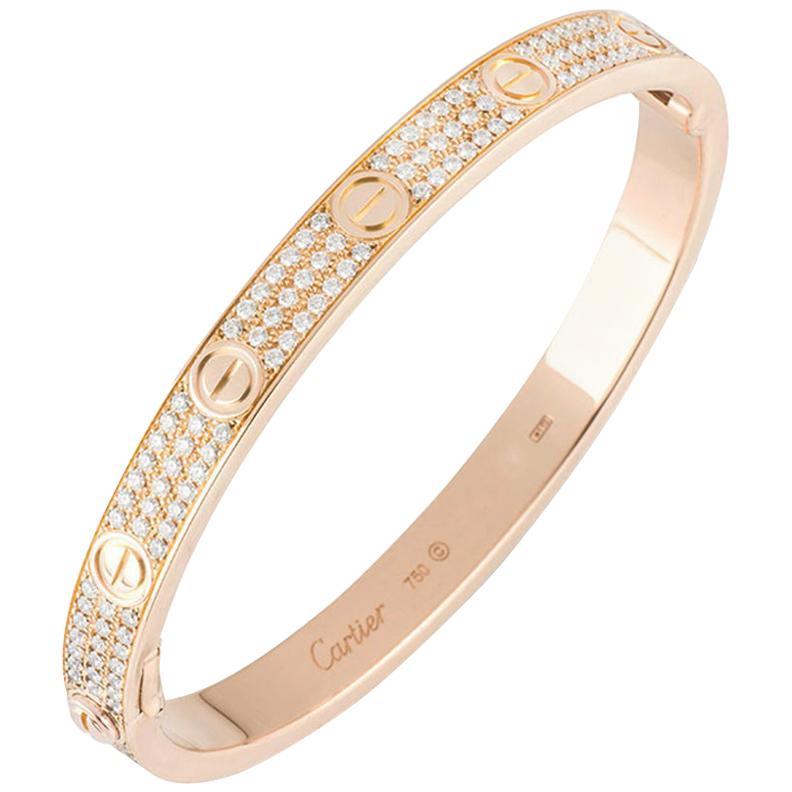 Cartier Rose Gold Full Pave Diamond Love Bracelet N6036916
