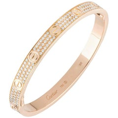 Cartier Rose Gold Full Pave Diamond Love Bracelet N6036916