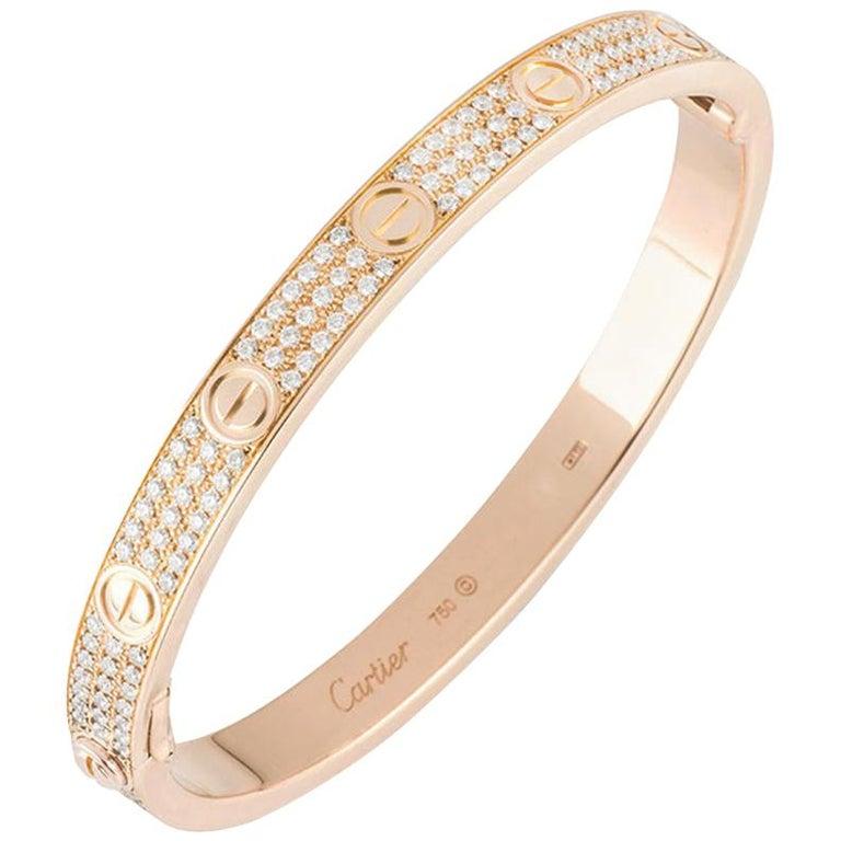 Cartier Rose Gold Full Pave Diamond Love Bracelet N6036916 For Sale