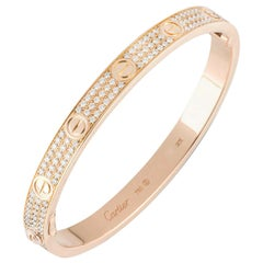 Cartier Rose Gold Full Pave Diamond Love Bracelet N6036918