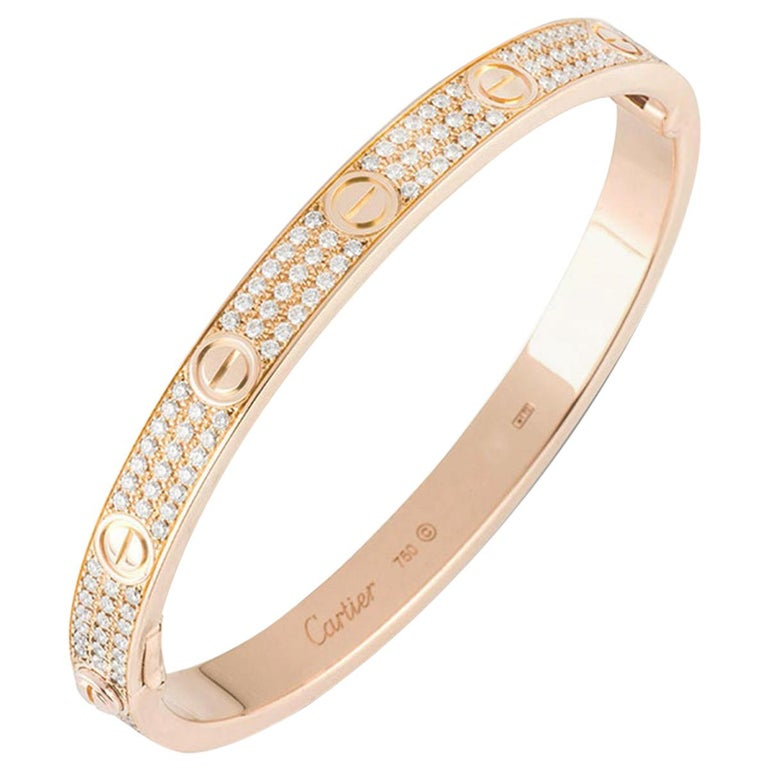 Cartier Rose Gold Full Pave Diamond Love Bracelet N6036918 For Sale