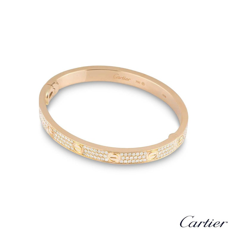 Round Cut Cartier Rose Gold Full Pave Diamond Love Bracelet N6036916 For Sale