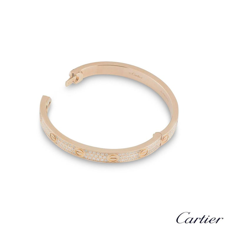 Cartier Rose Gold Full Pave Diamond Love Bracelet N6036916 In Excellent Condition For Sale In London, GB