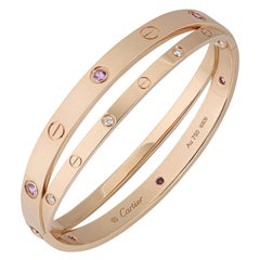 Cartier Rose Gold Half Diamond and Pink Sapphire Love Bracelet N6705917